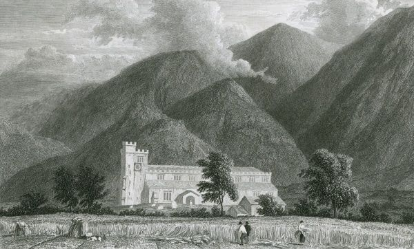 Crosthwaite Church and Skiddaw, with people harvesting in a field in the foreground. Date: circa 1833