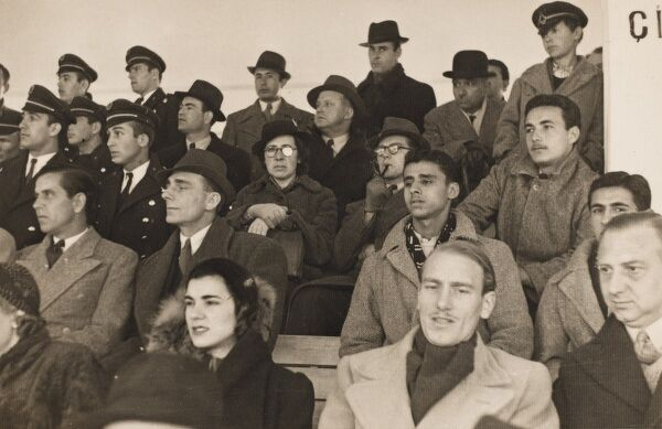 Section of the crowd at a football match which took place in Ankara in December 1941 (during World War Two)