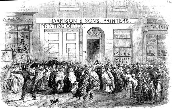 Engraving showing the crowd that gathered outside the offices of the 'London Gazette' Newspaper upon the publication of a Crimean War 'Gazette Extraordinary', 1854