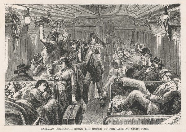 Settling down for the night on board an American train of the Central Pacific Railroad