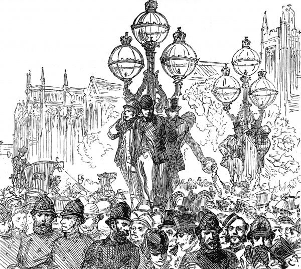 The final hour of the long running Tichborne trial, for the conviction of Mr Arthur Orton for perjury. The crowds gather in the surrounding streets for the verdict. Mr Orton was sentenced to fourteen years imprisonment, for claiming to be Mr Roger Tichborne