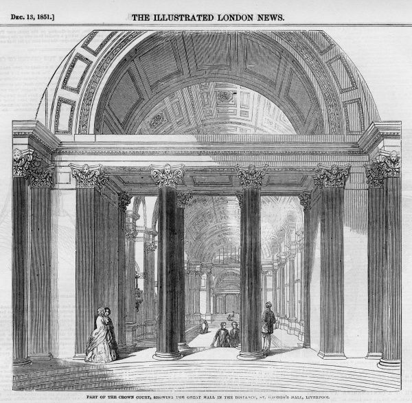 Interior view of part of the Crown Court, with the Great Hall in the distance, at St. George's Hall, Liverpool, 1851