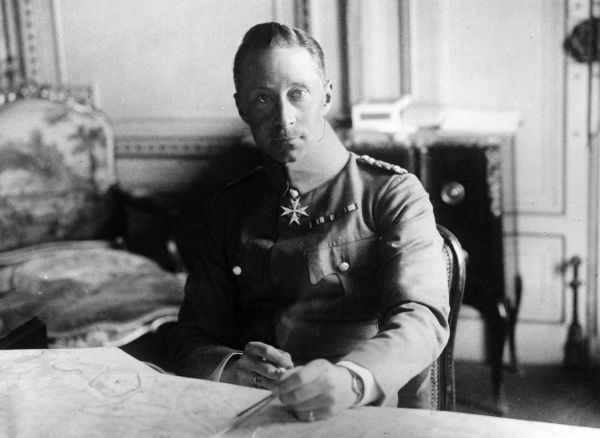Friedrich Wilhelm Victor August Ernst (1882-1951), the last Crown Prince of Germany and Prussia. Seen here seated at his desk with a map in front of him during the First World War. Date: 1914-1918