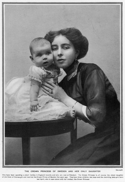 The Crown Princess of Sweden, formerly Princess Margaret of Connaught (1882-1920), grandaughter of Queen Victoria, posed with her baby daughter, Ingrid. Ingrid would later go on to marry Crown Prince Frederik of Denmark. The Crown Princess of Sweden