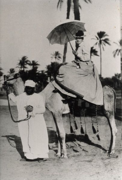 Crown Princess Victoria (later queen Victoria of Sweden ) riding on a camel in Egypt 1890. Date: 1890