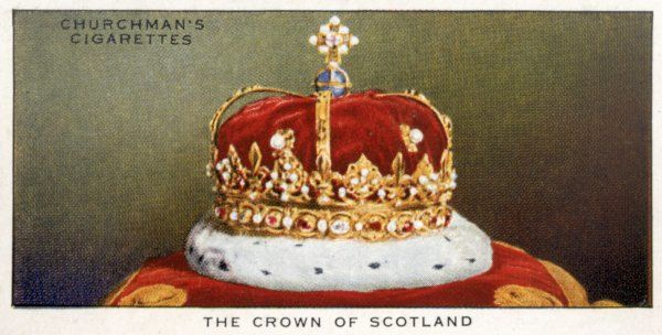 The Crown of Scotland, last used at the coronation of Charles II at Scone in 1651, now in the Crown Room at Edinburgh Castle
