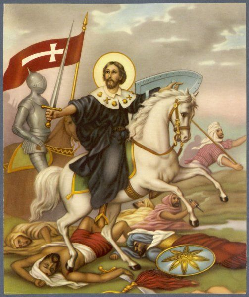 The Crusader depicted as a Christian hero, on a white horse, and wearing a halo rather than a helmet