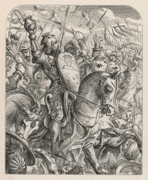 Sir James Douglas, taking Bruce's heart to the Holy Land is diverted to fight the Moors near Granada ; he hopes the heart will bring the Crusaders luck, but alas, he is killed