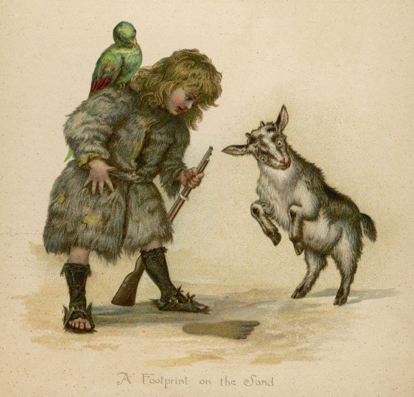 Robinson Crusoe depicted as a boy, with a parrot on his shoulder and a goat prancing in front of him - why ?