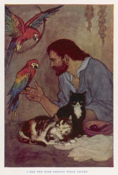 Robinson Crusoe with his parrots and cats