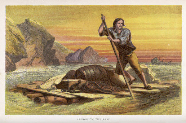 Crusoe on his raft, salvages as much as he can from the wrecked ship