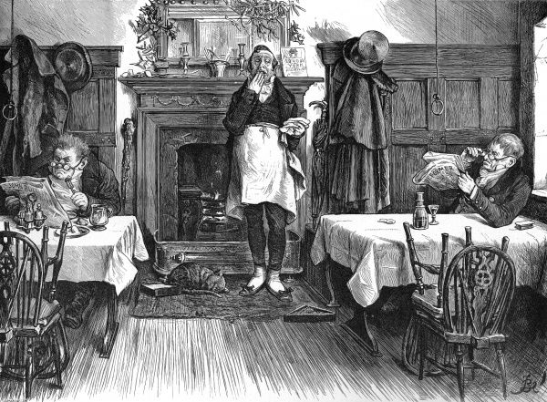 Humorous illustration showing two old bachelors taking their Christmas dinner while reading newspapers at a restaurant or eating house