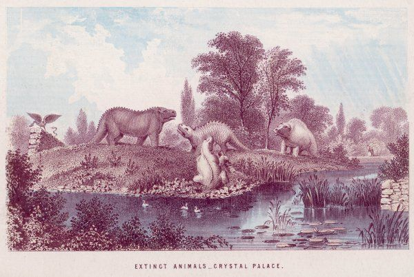 Visitors to the Crystal Palace at Sydenham, S.E.London, are both edified and entertained by the sculptures of prehistoric animals, created by Waterhouse Hawkins