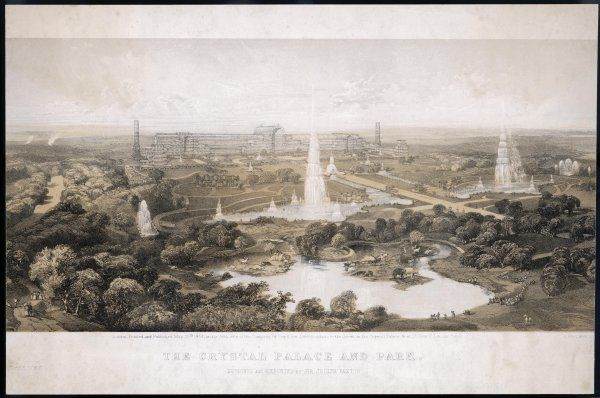 The Crystal Palace and Park, with fountains, lake and extinct animals