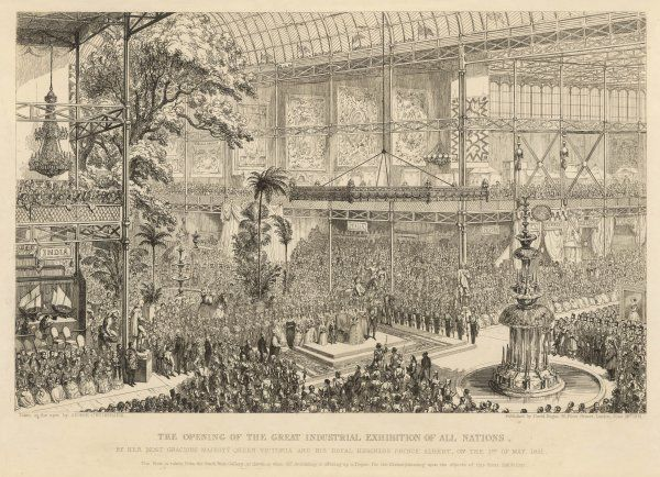 Queen Victoria and Prince Albert at the inauguration ceremony; view from the South West Gallery as the Archbishop offers up a prayer for Divine blessing upon the objects