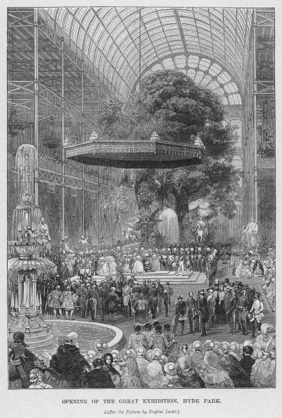 The opening of the Great Exhibition in the Crystal Palace at Hyde Park