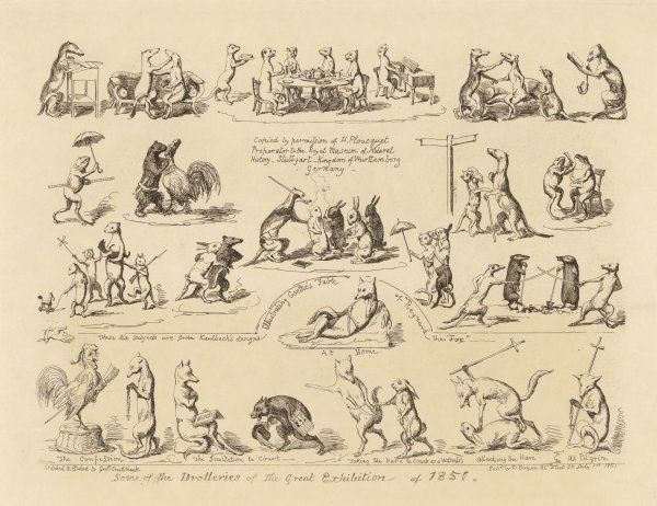 "Some of the ""Drolleries"" of the Great Exhibition, making satirical references to Goethe's ""Reynard the Fox"" etc"