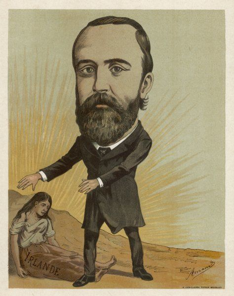 CHARLES STEWART PARNELL Irish Nationalist politician, with an allegorical female figure representing Ireland