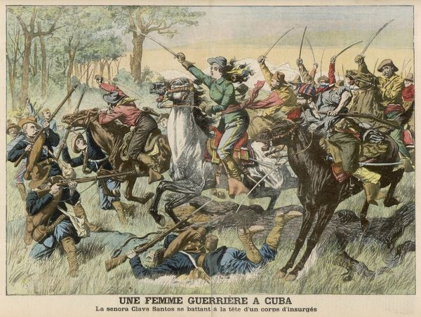 Insurrection in Cuba : Senora Clara Santos heroically leads a charge of rebel cavalry