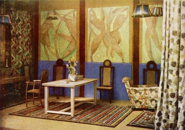 A room inspired by post-impressionism designed by Roger Fry, where everything, including the furniture and ornaments were cubist. It was created by the Omega Workshops, a London design studio set up in 1913 by Fry
