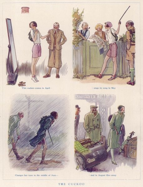 Series of humorous illustrations showing a young girl, full of energy and optimism as she models her new hiking outfit, and then chatting to neighbours as she passes on her walk, but miserable wet weather in June makes her change her tune