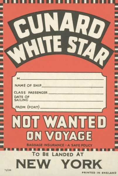 Luggage label for the Cunard White Star route to New York