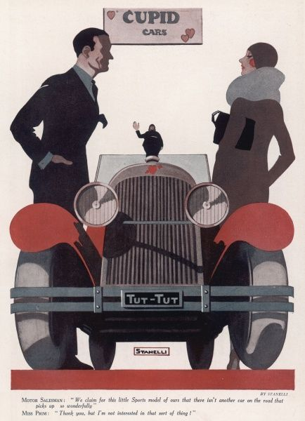 Motor salesman: 'We claim for this little sports model of ours that there isn't another car on the road that picks up so wonderfully.' Miss Prim: 'Thank you, but I'm not interested in that sort of thing !&#39