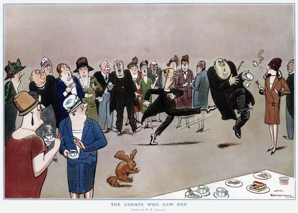 Humorous illustration by the comic master of social satire, H. M. Bateman showing an irate curate kicking the local vicar and upsetting his cup of tea, much to the shock of polite onlookers. Date: 1927