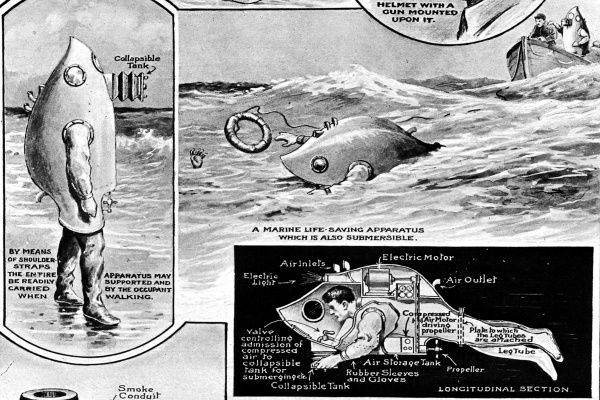 A sketch showing an example of a curious design sent to the Patent Office in 1920, of a marine life saving apparatus which was also submersible. The sketches show 3 pictures of the apparatus, the occupant on land, saving a person in the sea