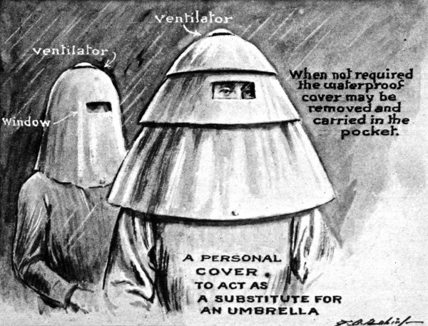 An illustration showing a curious design sent to the Patent Office in 1920, of a bizarre head covering with design features such as a window and ventilation. It is suggested that this may be carried in the pocket and used instead of an umbrella