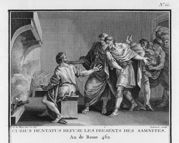 Manius Curius Dentatus, Roman consul and plebeian hero, though living on turnips, refuses bribes from the Samnites. He is noted for ending the Samnite War
