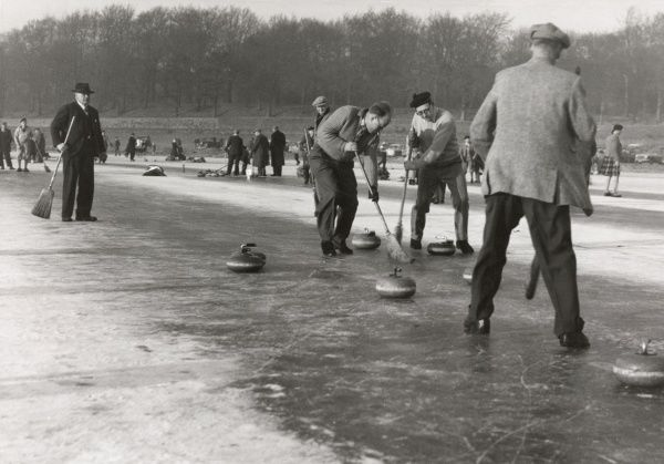 Curling on Loch Leven, Kinrosshire during the Grand Match between north and south Scotland; it was the first outdoor bonspiel for nearly fifty years