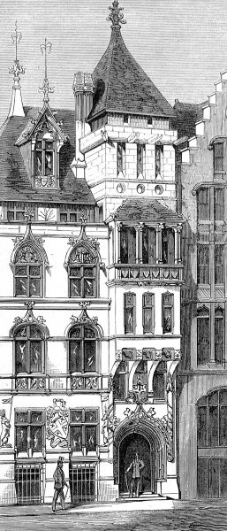 Engraving showing the exterior of the Curriers' Hall in London Wall, London, 1875