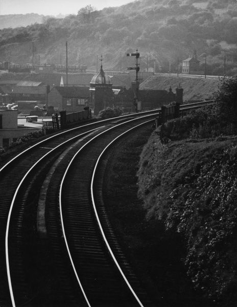A dramatic curve in the railway lines near High Wycombe, Buckinghamshire, England. Date: 1960s