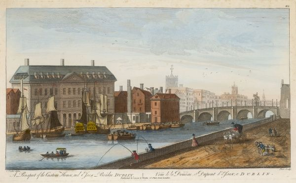 A prospect of the Custom House and Essex Bridge in Dublin. This new Custom House met with opposition from merchants who felt moving downriver would lessen their properties' value