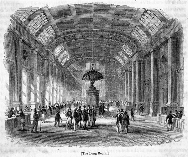 The Long Room, where the principal business of the Custom House is transacted