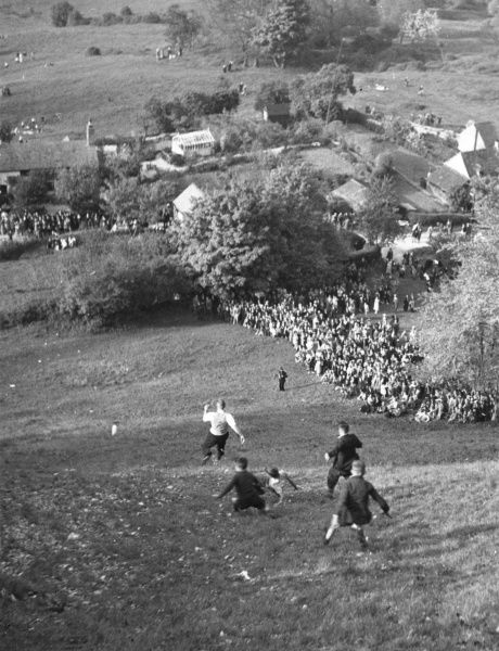 Cheese Rolling at Cooper's Hill. For over 400 years this Whit-Monday ceremony has taken place to preserve rights of common as grazing-ground. In the 1950's when this picture was taken, it is reported that the ceremony had become so popular that the R