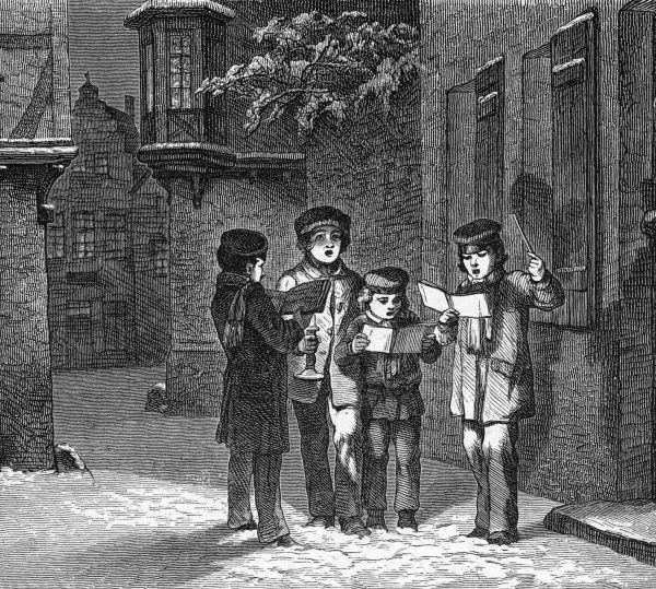 Four boys singing carols in the street Date: 1878