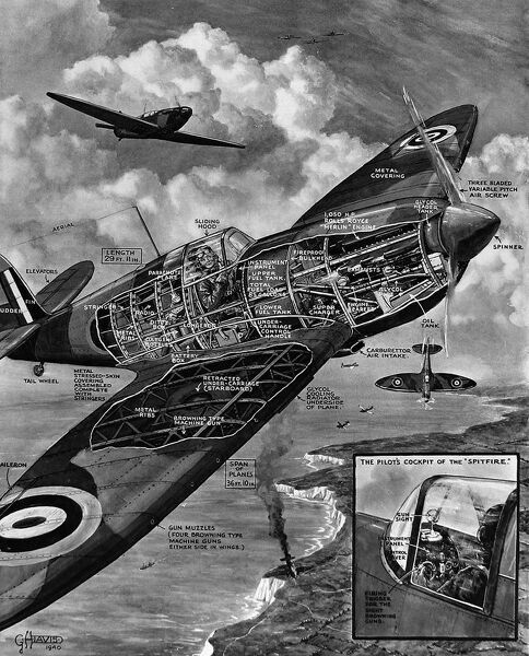 Cutaway illustration of a Royal Air Force Supermarine 'Spitfire' fighter airplane, 1940