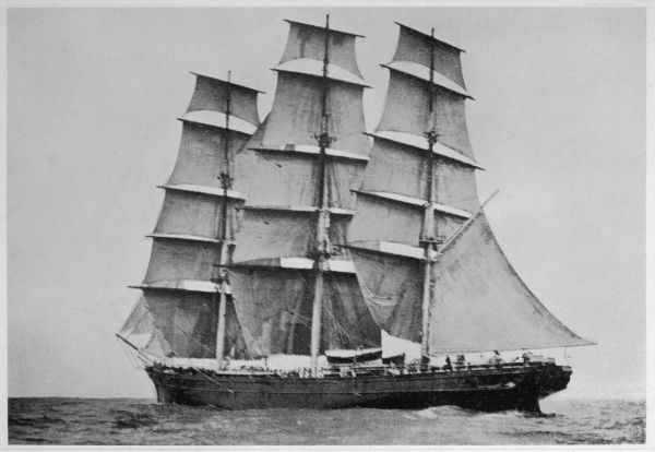 The 'Cutty Sark' in mid-ocean, with all sails set