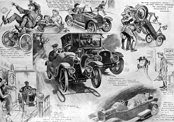 Cycle-cars were fashionable and popular from Edwardian times to the early 1920s, when their light weight, small size, low purchase price and running costs made motoring accessible to the masses