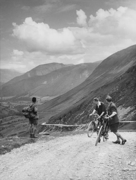 Touring cyclists at the summit of Bwlchygroes, mid Wales