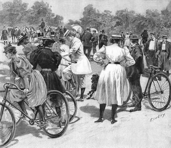 Cycling in the Bois de Boulogne, 1894. Date: 1894