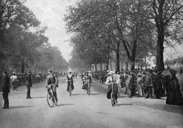 "THE TRIUMPH OF ""THE WHEEL"" CYCLING IN HYDE PARK, LONDON Cyclists enjoying themselves; cycling was only allowed in Hyde Park from 1895 onwards"