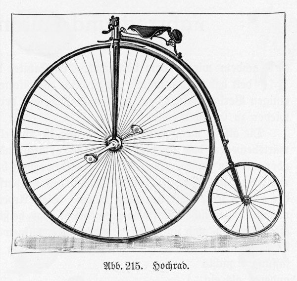 The penny farthing was popular between 1873 & 1885, before the introduction of the first 'safety' bicycles