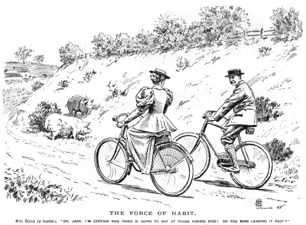 "Miss Diana(a novice): 'Oh Jack, I'm certain this thing is going to shy at those horrid pigs! Do you mind leading it past?"" Date: 1895"