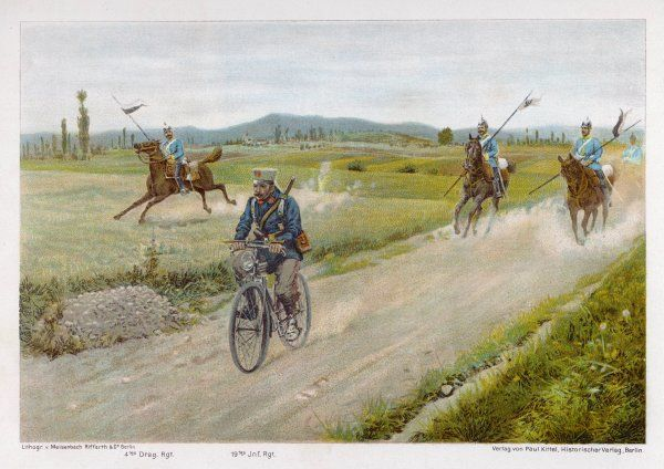 A German military cyclist proves that he can outpace a group of Dragoons