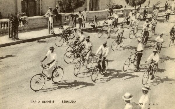 "Cyclists in Bermuda - this postcard is captioned ""Rapid Transport"" Date: circa late 1930s"