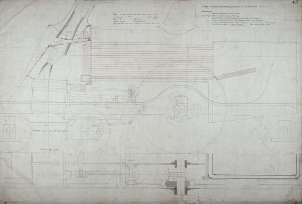 Three cylinder balanced locomotive compound engine, plan and side elevation Date: 1899
