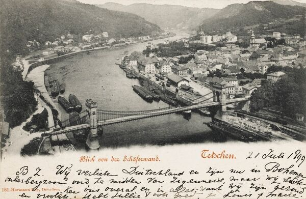 Czech Republic - Decin - on the border with Germany - a spa town. Cargo transported by road, rail and water all passes through the town, as it is also at the meeting-point of the rivers Labe (Elbe in German) and Ploucnice